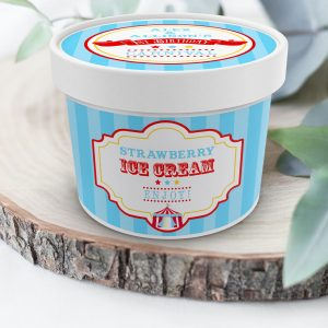 Printable Bright Red Circus/Carnival Ice Cream or Treat Tub Labels- Blue Stripes