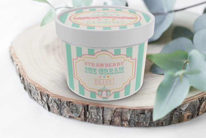 Printable Pink & Mint Circus/Carnival Ice Cream or Treat Tub Labels- Mint Stripes