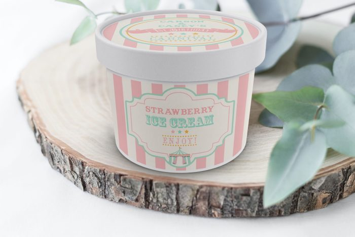 Printable Pink & Mint Circus/Carnival Ice Cream or Treat Tub Labels- Pink Stripes