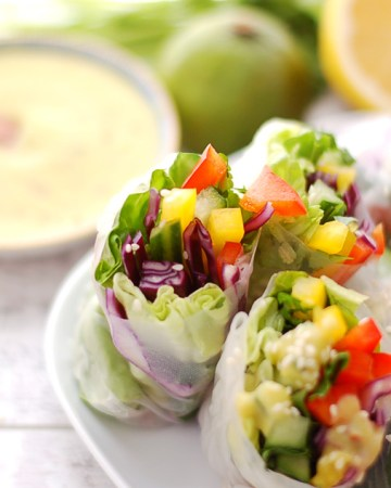 Veggie Springrolls With Lime and Coconut Dressing