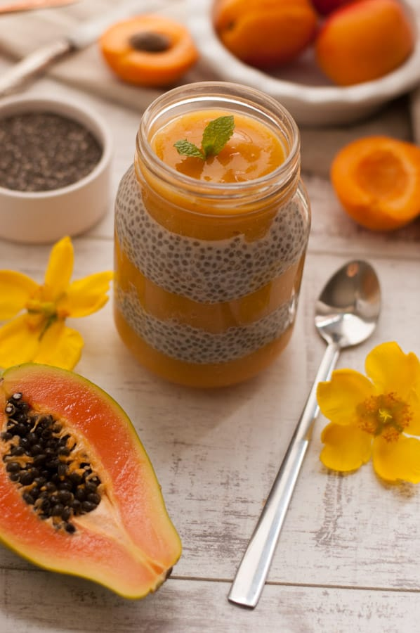 Mango, Papaya and Apricot Chia Pudding infused with Ginger. Delicious recipe for super healthy breakfast. YUM! http://annabanana.co/