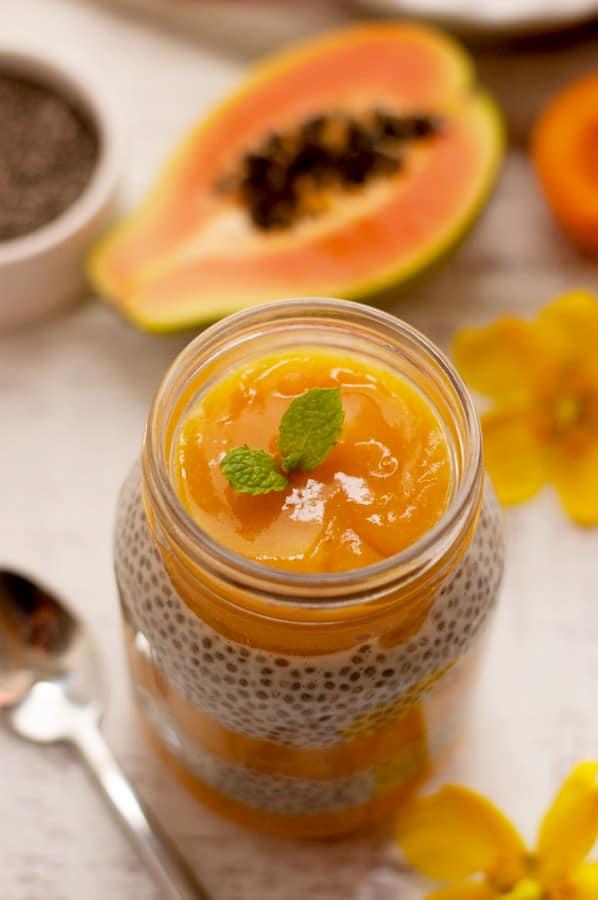 Mango and Papaya Chia Pudding with Apricot