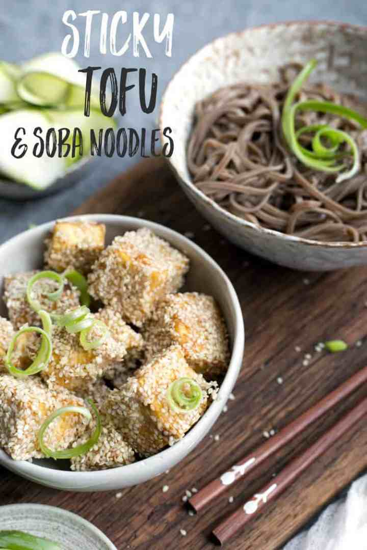 Sticky tofu with soba noodles and pickled zucchini   via@annabanana.co