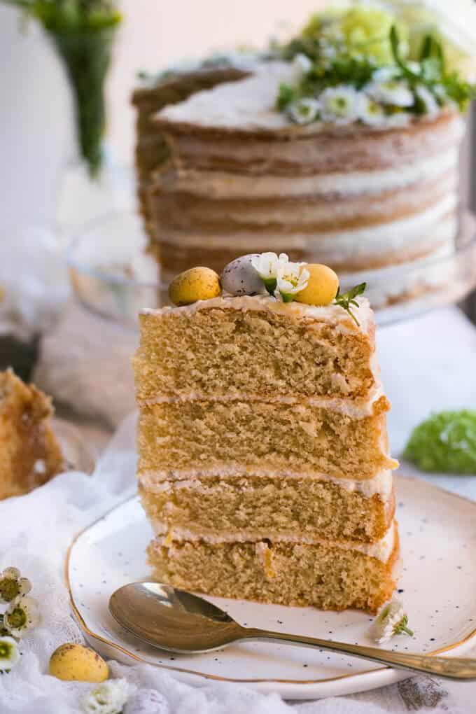 Vegan Layered Lemon Cake infused with thyme | via annabanana.co