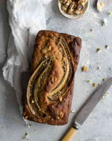 Rustic style banana bread with yoghurt and pecans   via @annabanana.co