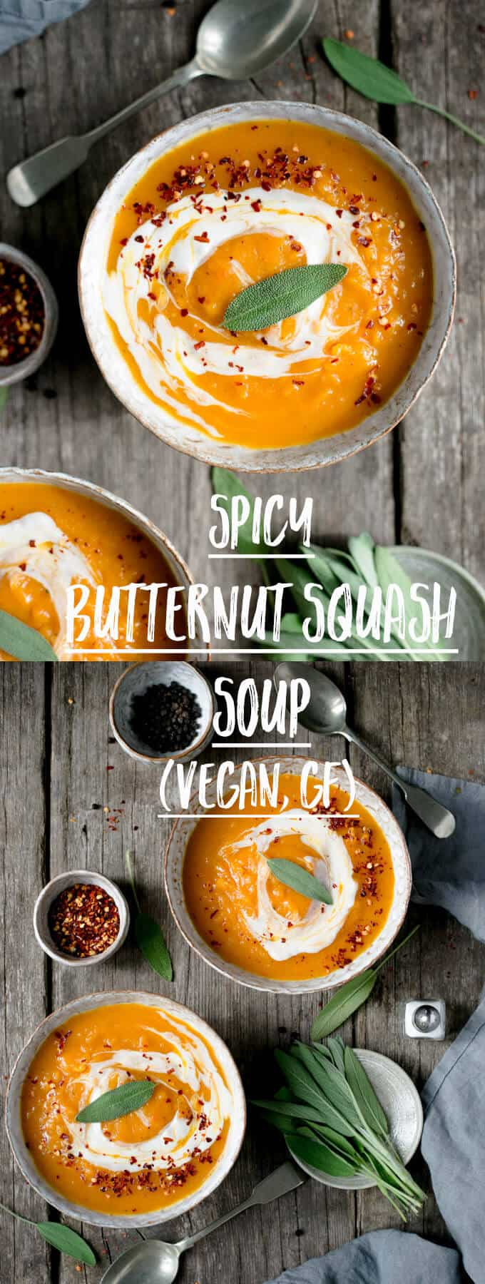 Delicious, velvety smooth spicy butternut squash soup! #vegan #glutenfree #soup #butternutsquash | via @annabanana.co