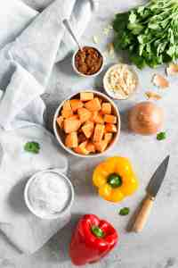 overhead shot of the ingredients for sweet potato curry; peppers, coconut milk, sweet potato, onion, toasted almonds, coriander, curry paste