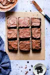 top view of chocolate cake with frosting, cut into square slices