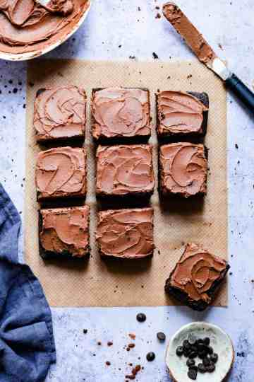 square slices of dark chocolate cake topped with buttercream