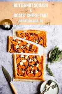 top view of sliced puff pastry tart topped with butternut squash