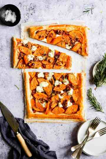 top view of sliced puff pastry tart with butternut squash