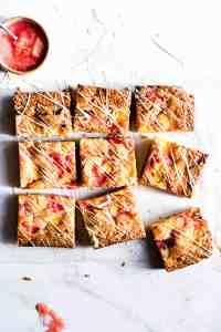 top view of 9 square slices of rhubarb blondies