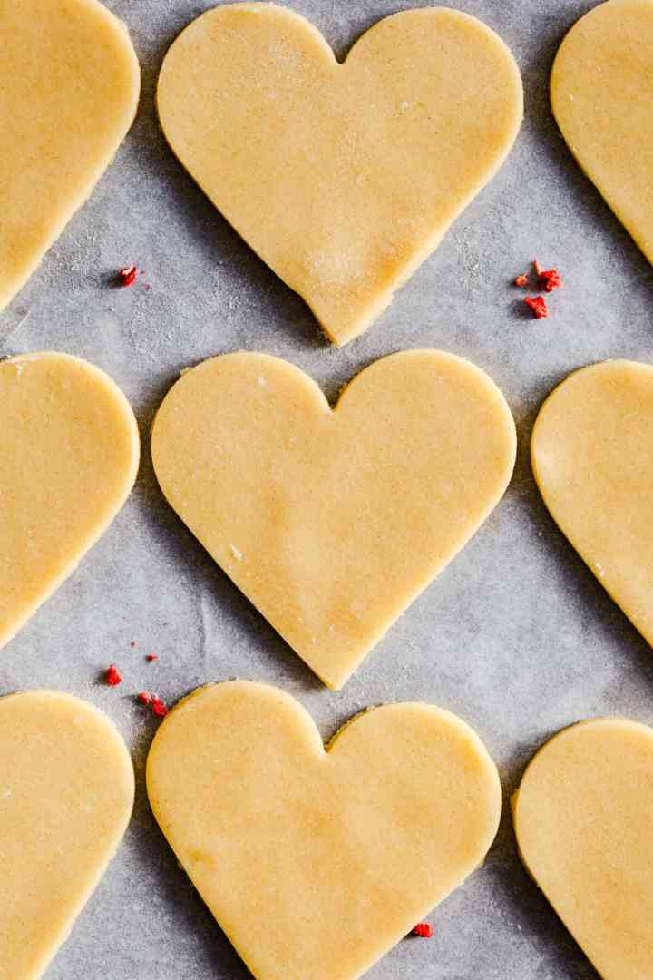 top view close up of heart shaped sugar cookies