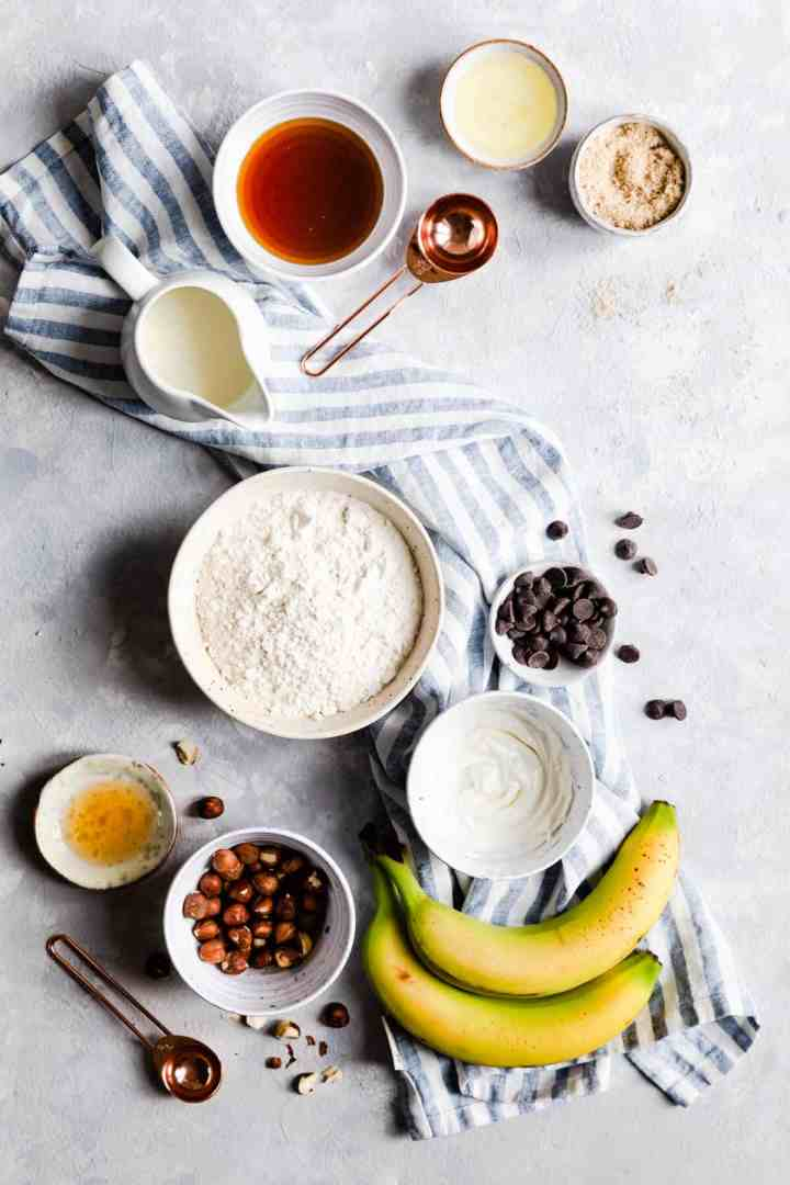 overhead view of bowls with ingredients for hazelnut pancakes