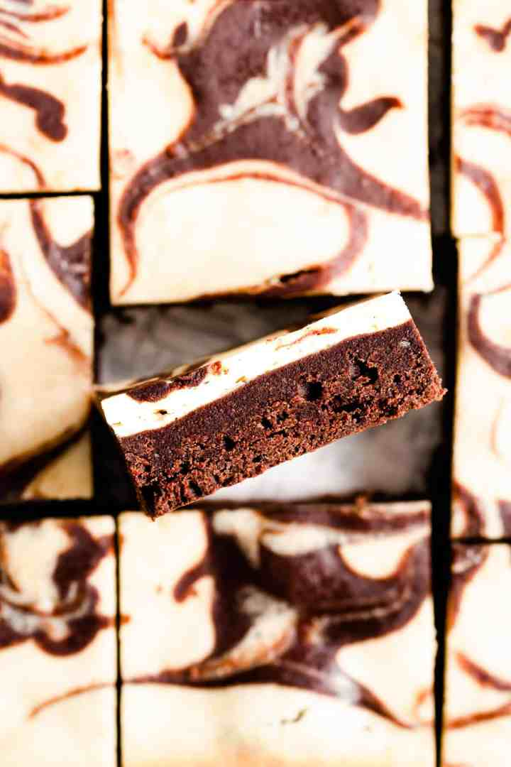 overhead close up of brownie slice showing its texture