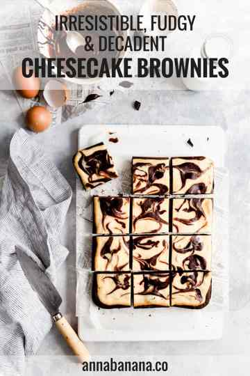 overhead shot of cheesecake brownies cut into 12 squares with text overlay