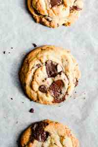 close up from top of a baked cookie with chocolate chips