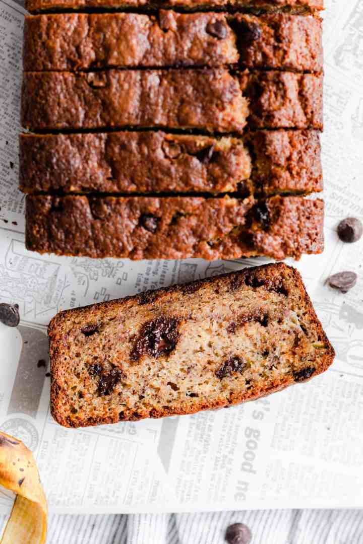 top view close up showing a slice of chocolate chip banana bread