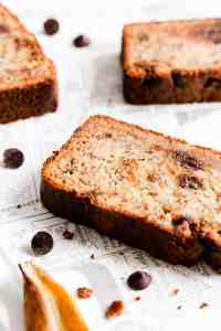 side close up of a slice of banana loaf