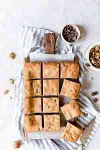 overhead shot of 12 individual blondies cut into squares