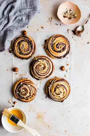 overhead shot of 5 hazelnut buns