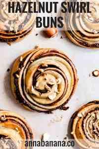 overhead close up at hazelnut swirl bun with text overlay