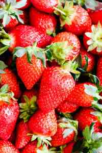 top view close up at fresh strawberries