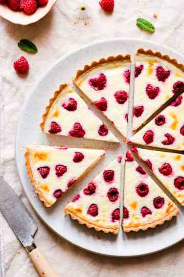 top view close up of slices of berry tart arranged in a circle