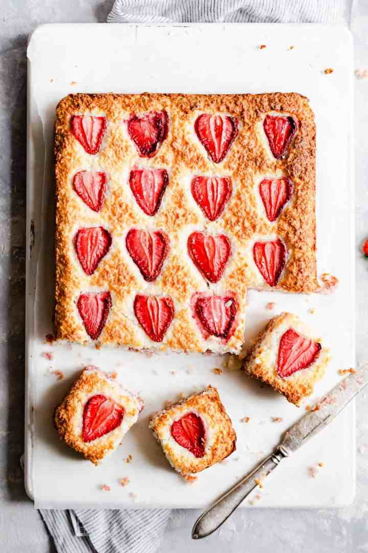 top view of strawberry coconut ice squares bake