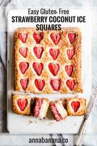 overhead close up of strawberry coconut squares with text overlay