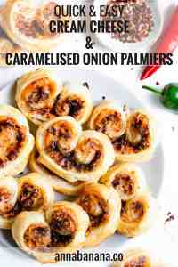 top view of plate filled with cream cheese and caramelised onion palmiers with text overlay