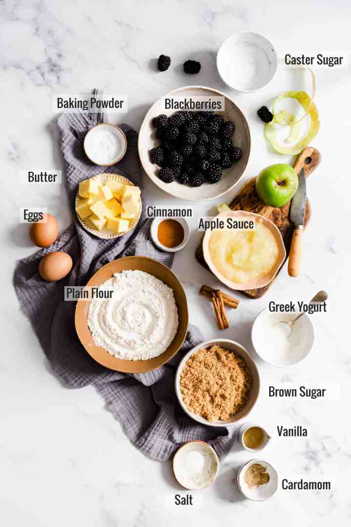 overhead shot of the ingredients for spiced apple and blackberry cupcakes with text overlay