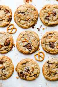 top view at chocolate chip cookies with pretzels and sea salt