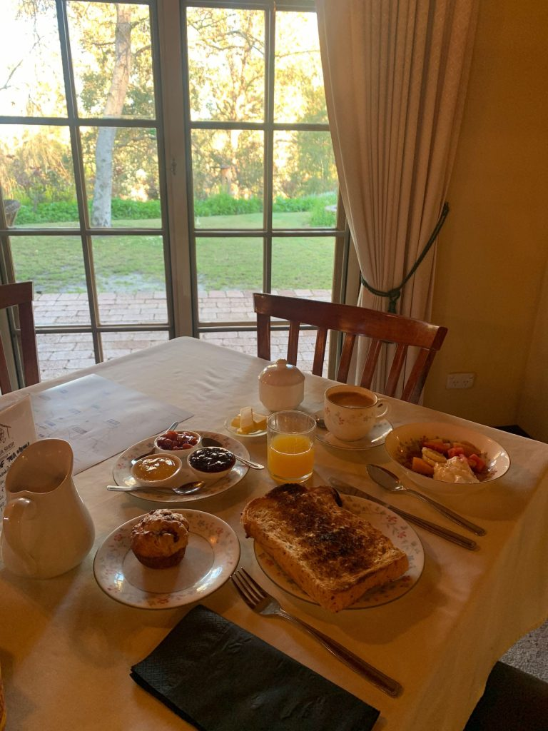 Morning breakfast spread at Holberry House B&B to show continental breakfast serving