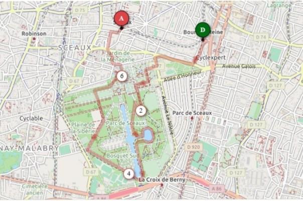 Map of walk around Parc de Sceaux