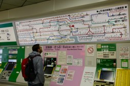 Ben trying to figure out the Tokyo transit map