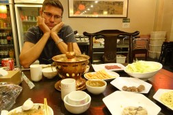 Ben waiting for the Mongolian hot pot to cook