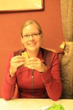 Anna enjoying the Peking Duck pancakes (yum!)