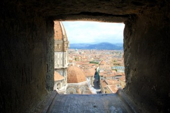 Partial view of the Cathedral while climbing up the bell tower in Florence