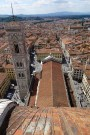 View of the bell tower from the top of the Cathedral in Florence