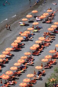 View of beach umbrellas in Positano
