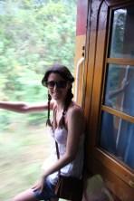 Adventurous Greta on the train from Colombo to Kandy