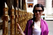 Greta at the Temple of the Tooth in Kandy