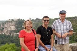 Ben with his parents in Rocamadour
