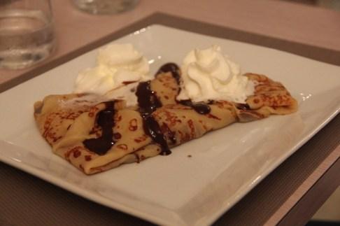 Banana-chocolate crepe for dessert