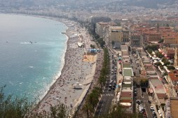 View of the beach in Nice from the Castle Hill lookout
