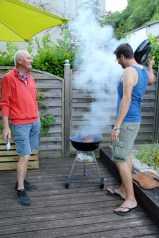 The boys barbecuing on our balcony in Brantome - 2
