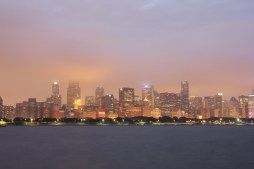 Chicago skyline as seen from the Adler Planetarium
