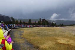 Yellowstone National Park - people lining up for Old Faithful
