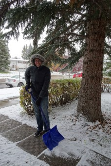 Ben was very eager to play in the snow in Calgary